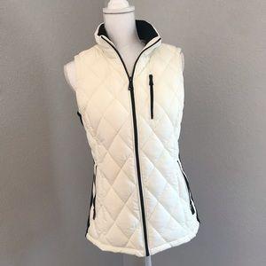 Calvin Klein Cream and Black Puffer Vest sz xs